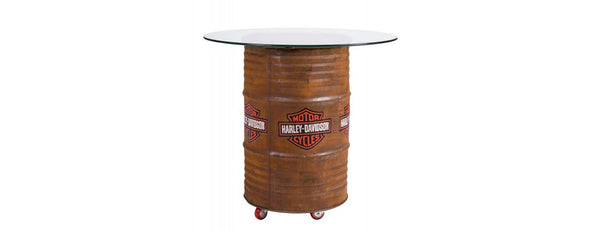 Harley Davidson Rustic Table With Glass Top
