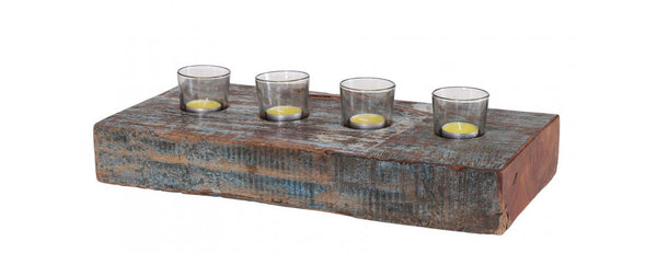 Reclaimed Teak Block 4pc Candle Holder