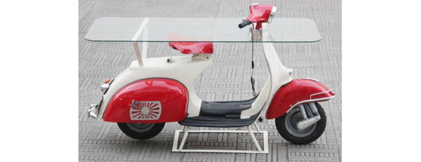 Red White Vespa Glass Topped Hall Table