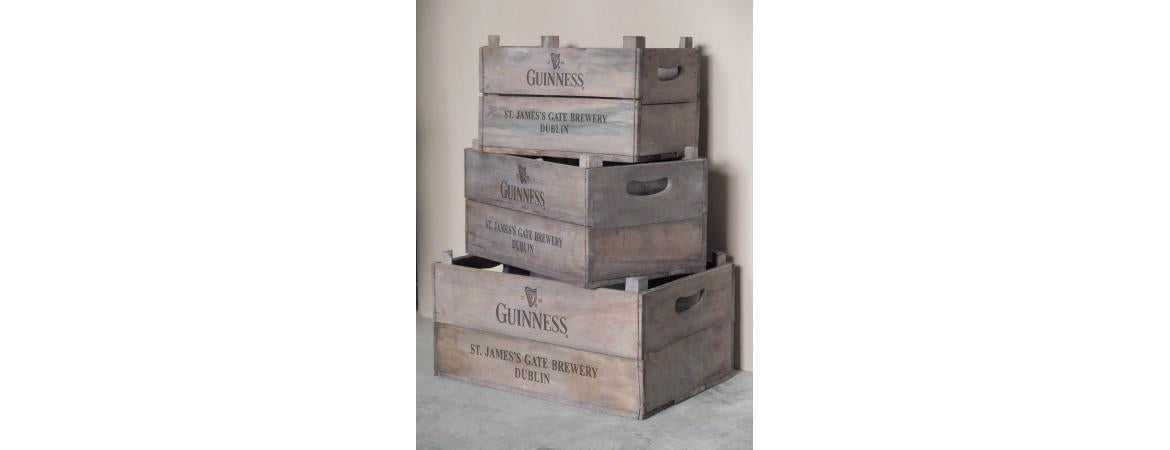 Set of 3 Vintage Guinness Nesting Boxes with Harp Logo