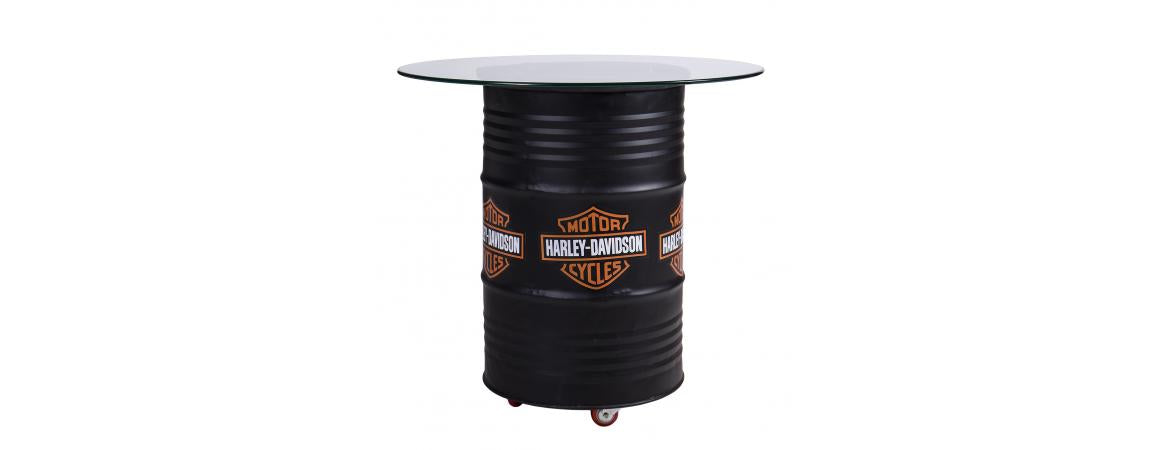 Harley Davidson Coloured Table With Glass Top