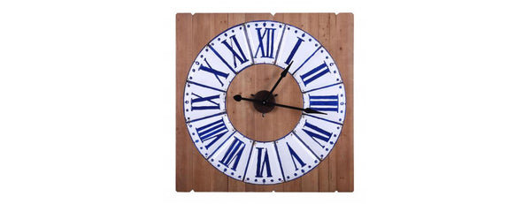 Square Blue and White Clock on Wooden Panelling