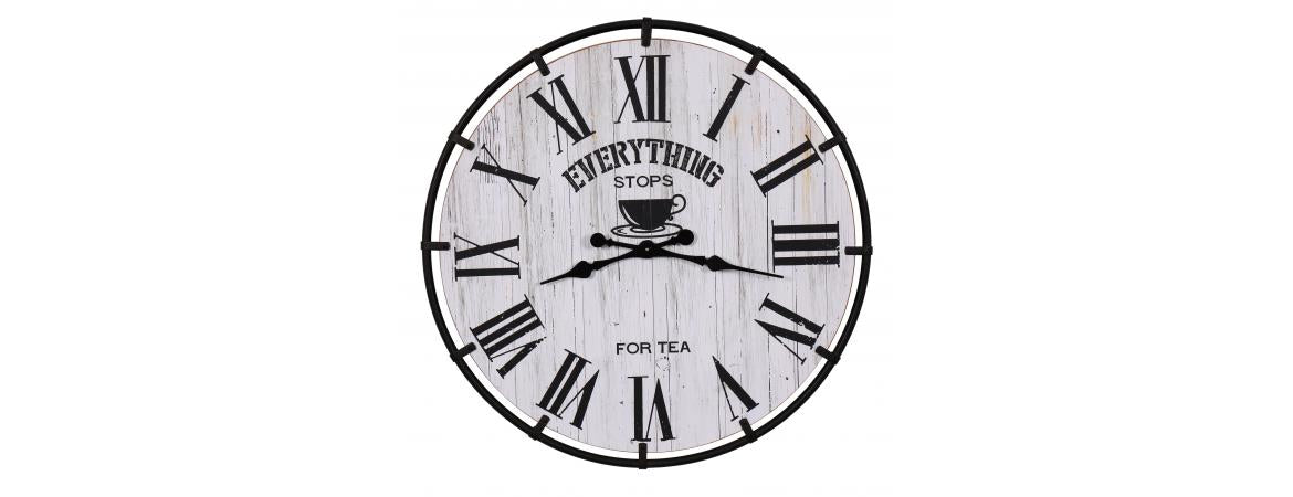 Everything Stops For Tea Round Clock