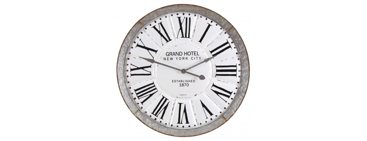 Grand Hotel New York City Round Iron Clock With Roman Numerals