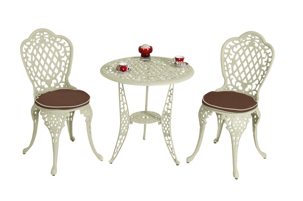 The Lisburn Cream 2 Seat Outdoor Aluminium Garden Bistro Set