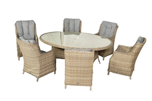 Tuscany Oval- 6 Seater Highback Comfort Dining Set