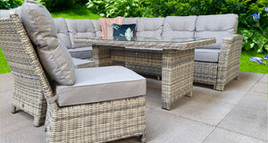 Miami rattan- Corner Sofa- Dining Set- Grey