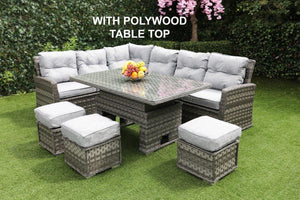 Antigua Rattan- Dining Set- Poly Wood Adjustable Table- Grey