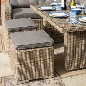 Brooklyn Rattan- Dining Set- Adjustable Table- Natural