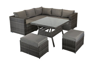 Manhattan Rattan- Square Dining Set- Grey