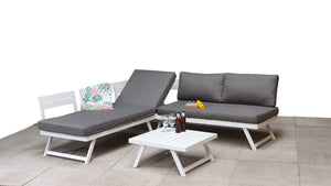 Andorra Aluminium- Corner Lounge Set- White & Grey