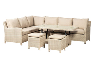 Truro Rattan- Deluxe 7pc Corner Dining Set- Cream