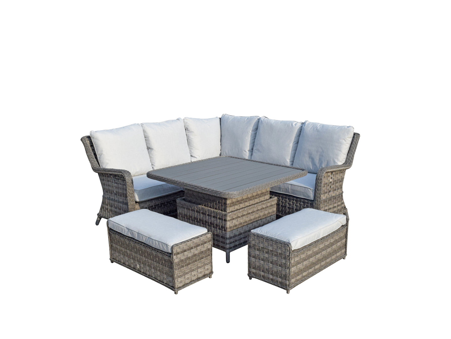 Paris Rattan- Corner Sofa- Adjustable Poly Wood Top- Grey