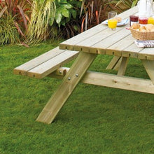 Load image into Gallery viewer, Wooden Oblong Picnic Table with folding seats