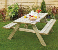Wooden Oblong Picnic Table with folding seats