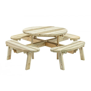 Wooden Round Outdoor Picnic Table with 8 seats