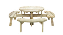 Load image into Gallery viewer, Wooden Round Outdoor Picnic Table with 8 seats