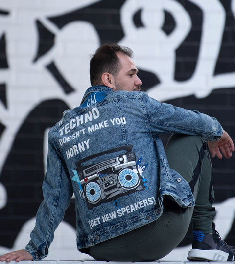 GET NEW TECHNO SPEAKERS HAND-PAINTED UNISEX DENIM JACKET