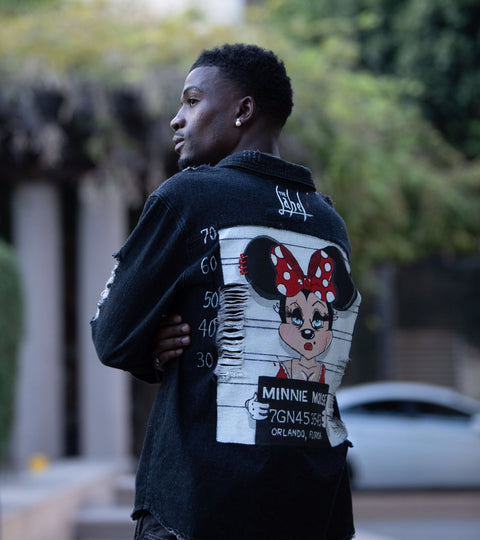 MINNIE MOUSE GOT TRAPPED HAND-PAINTED UNISEX DENIM JACKET