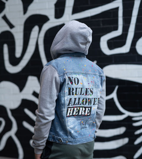 NO RULES HAND-PAINTED UNISEX DENIM JACKET HOODIE