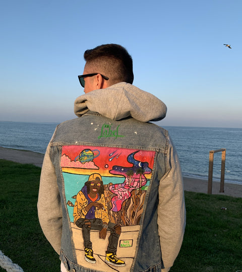 WIZ KHALIFA HAND-PAINTED DENIM JACKET HOODIE