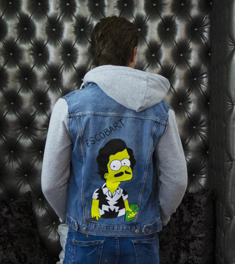 ESCOBART HAND-PAINTED DENIM JACKET-HOODIE