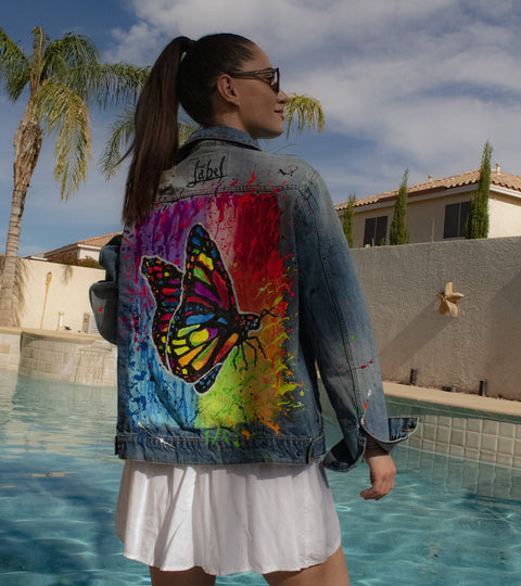 PRIDE BUTTERFLY DENIM JACKET
