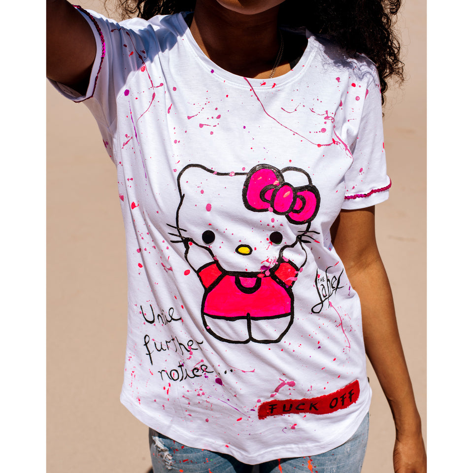 HELLO KITTY FUCK OFF HAND-PAINTED TSHIRT
