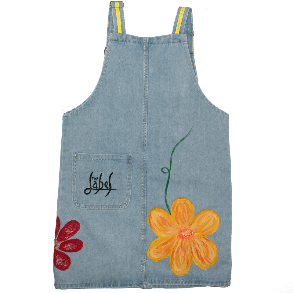 HAPPINESS BLOOMS FROM WITHIN DENIM DRESS
