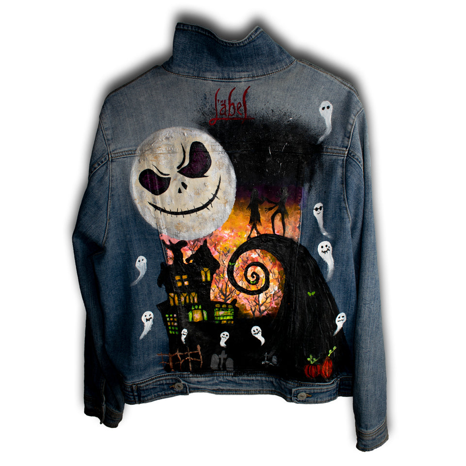 A NIGHTMARE BEFORE CHRISTMAS HAND PAINTED DENIM JACKET