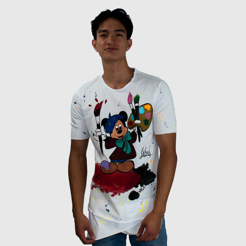 MICKEY MOUSE- ARTIST HAND PAINTED T-SHIRT