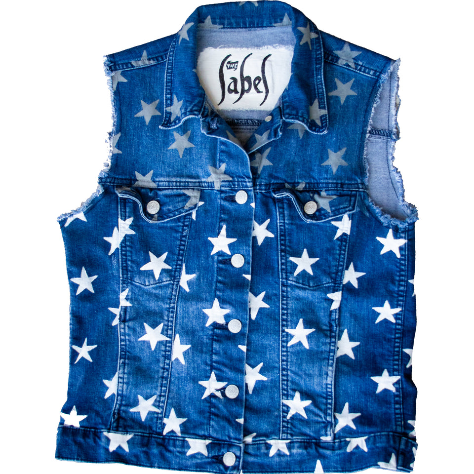 Stars Hand Painted  Denim Vest