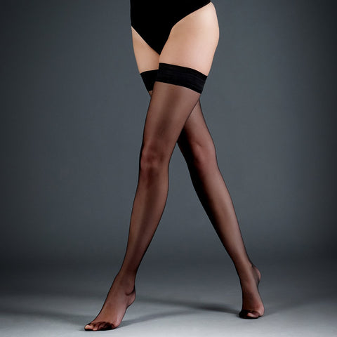 Hold Ups Plain Leg/Plain Top Black