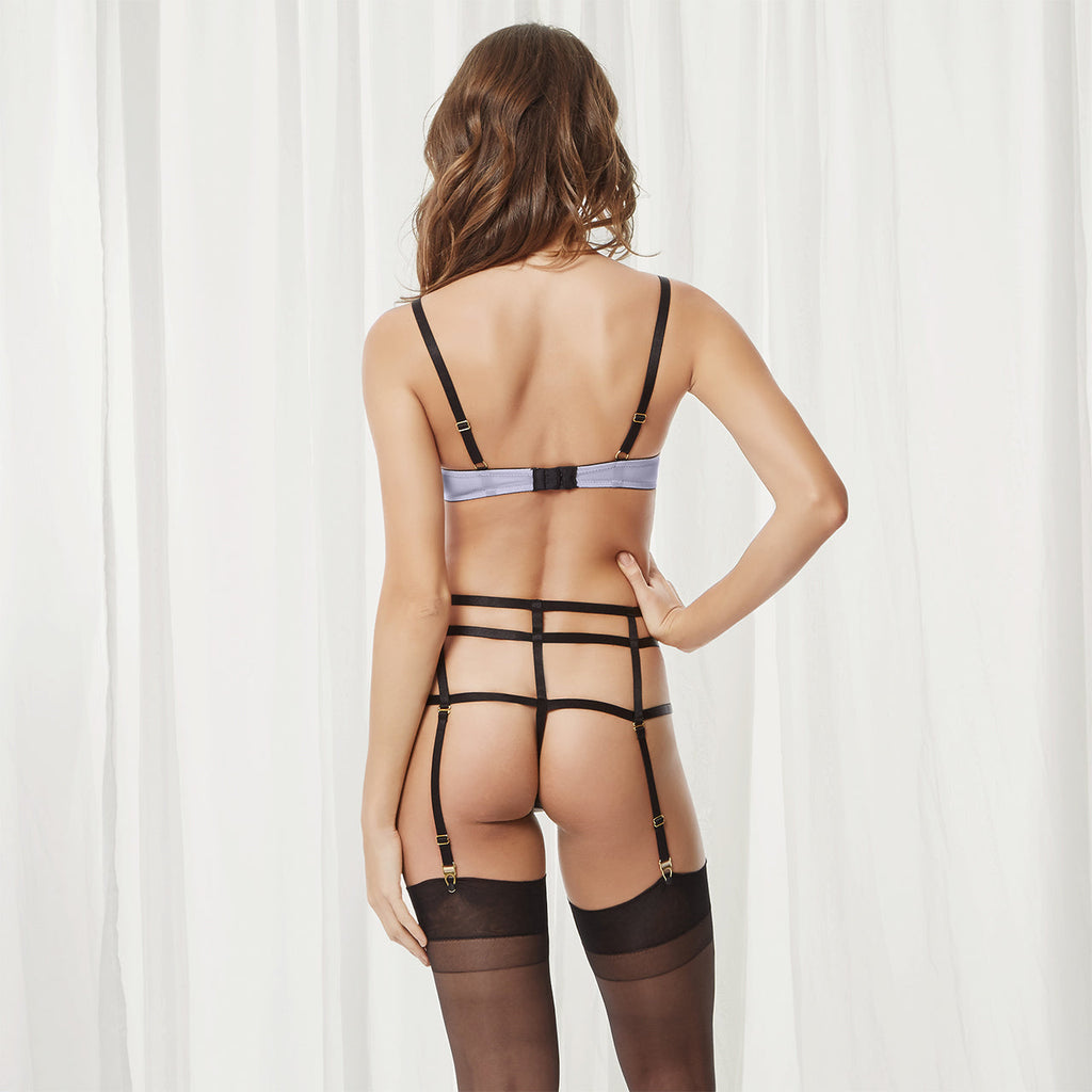 Denham High-Waist Suspender Thong Lilac