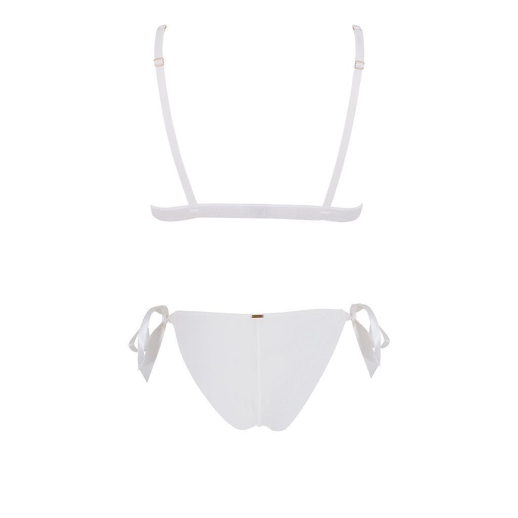 Tabitha Tie Front Bra and Tie Side Brief Set Ivory