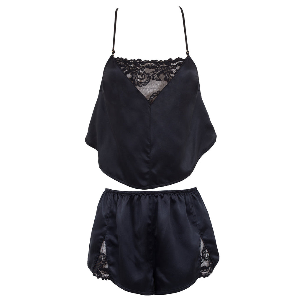 Abby Crop Cami & Short set Black