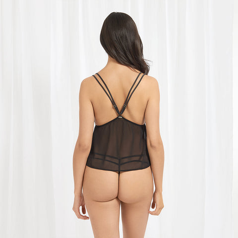 Sana Crop Cami and Thong Black