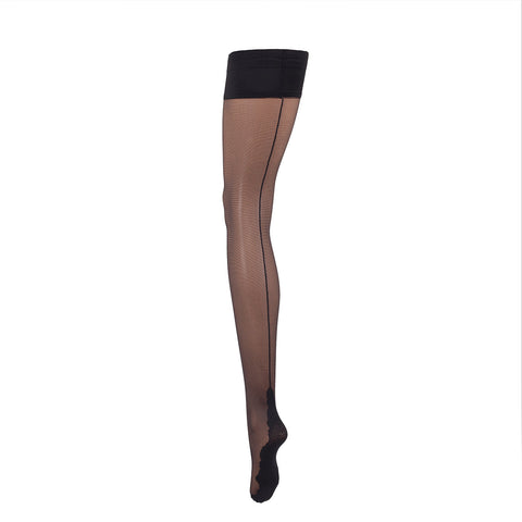 Hold Ups Backseam Black