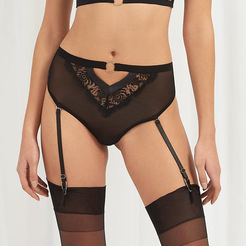 Elisabetta High Waist Suspender Thong Black/Rose Dust