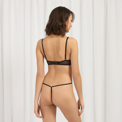 Priscilla Harness Thong Black