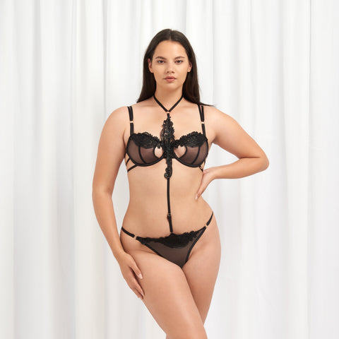 Julienne Harness Thong Black