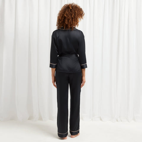 Wren Kimono and Trouser Set Black