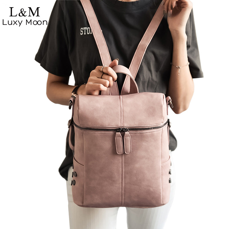 Simple Style Backpack Women PU Leather Backpack