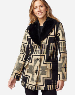 Wahkeena Shearling Collar Coat Black/Tan Harding Jacquard