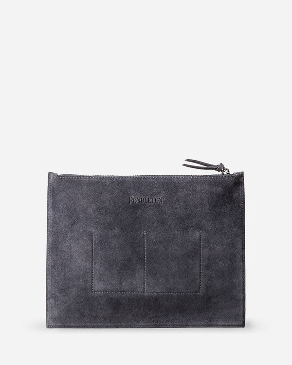 Suede Zip Clutch Grey/Black