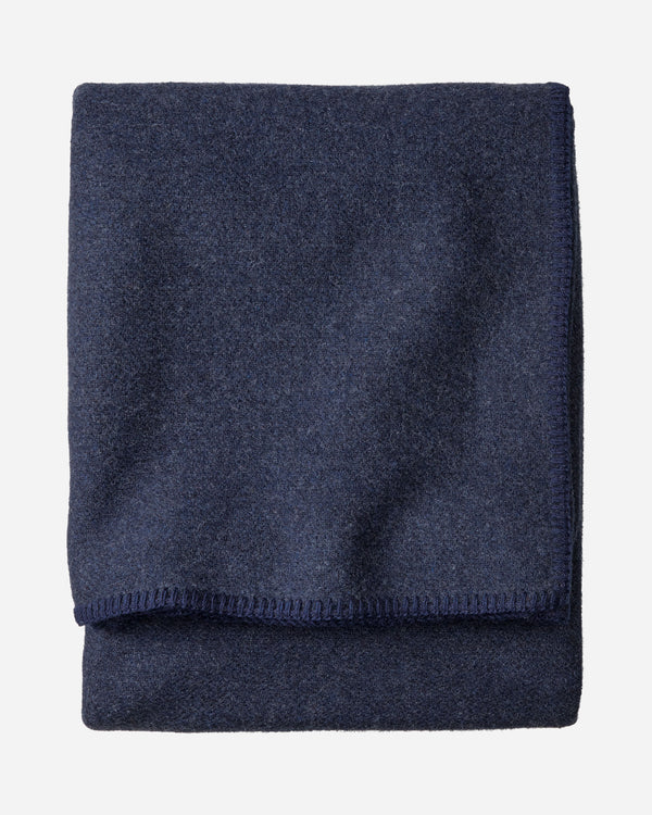 Eco-Wise Solid Wool Blanket Navy Heather