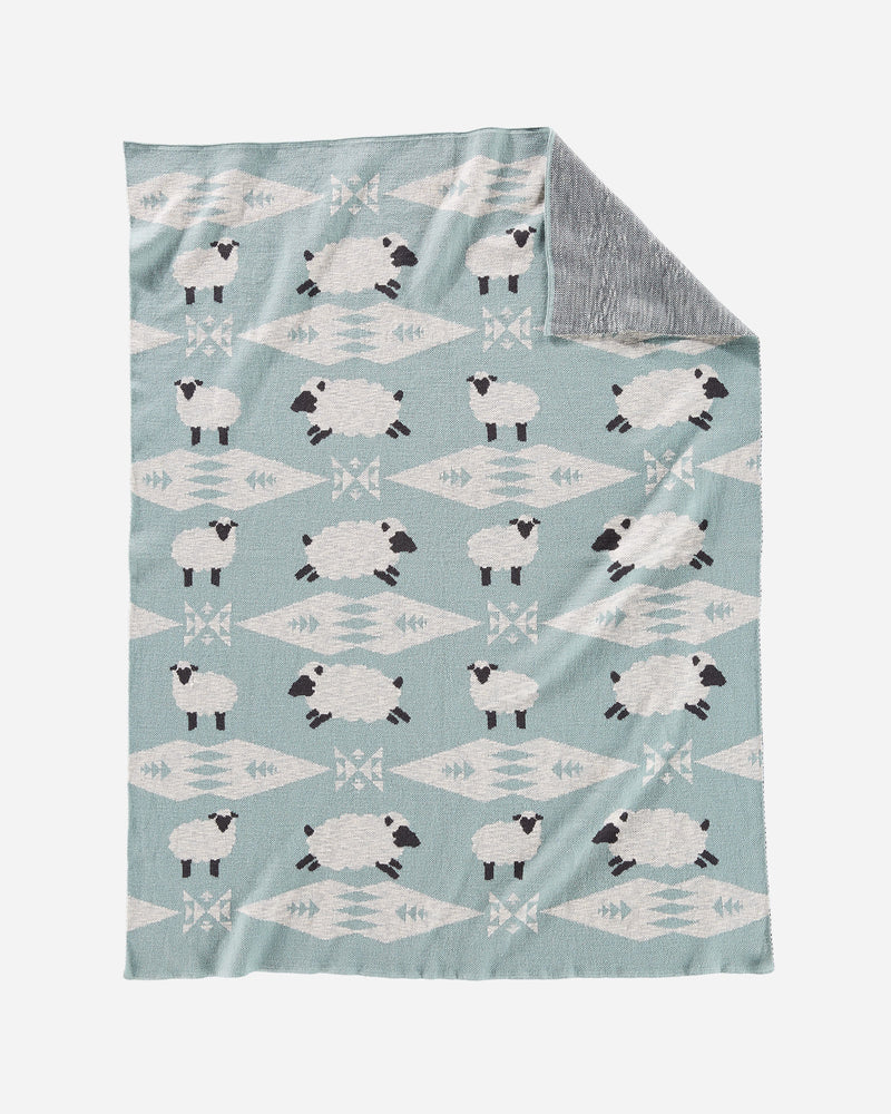 Knit Baby Blanket with Beanie Sheep Dreams