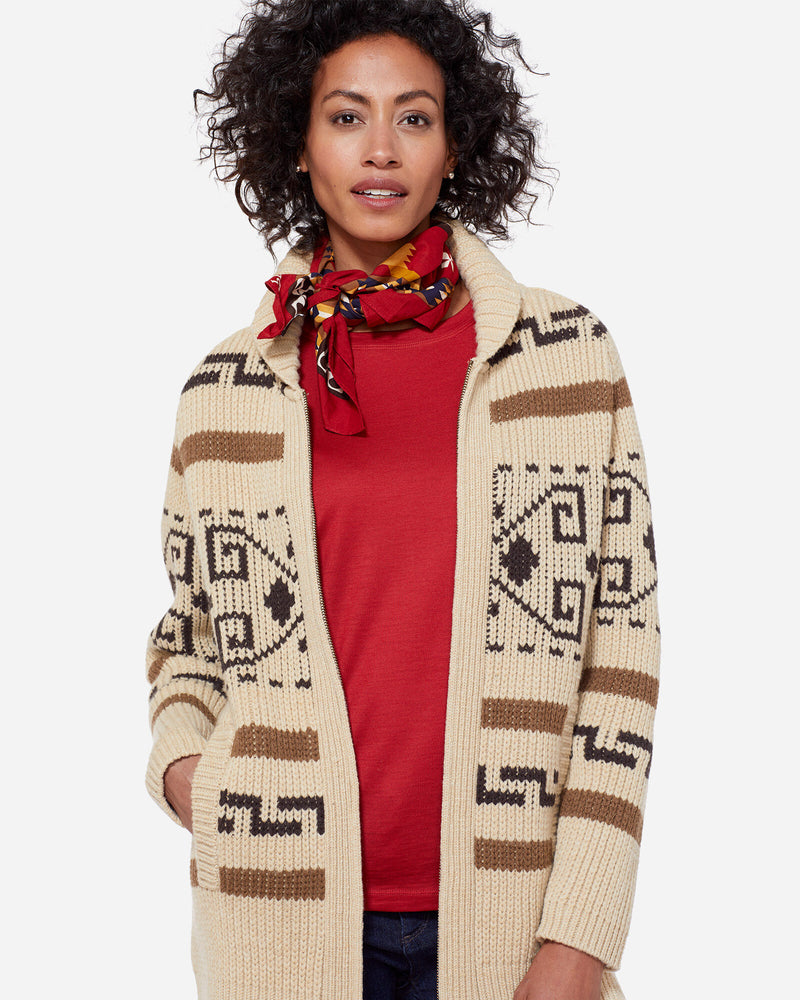 Long Westerley Cardigan Tan/Brown Multi