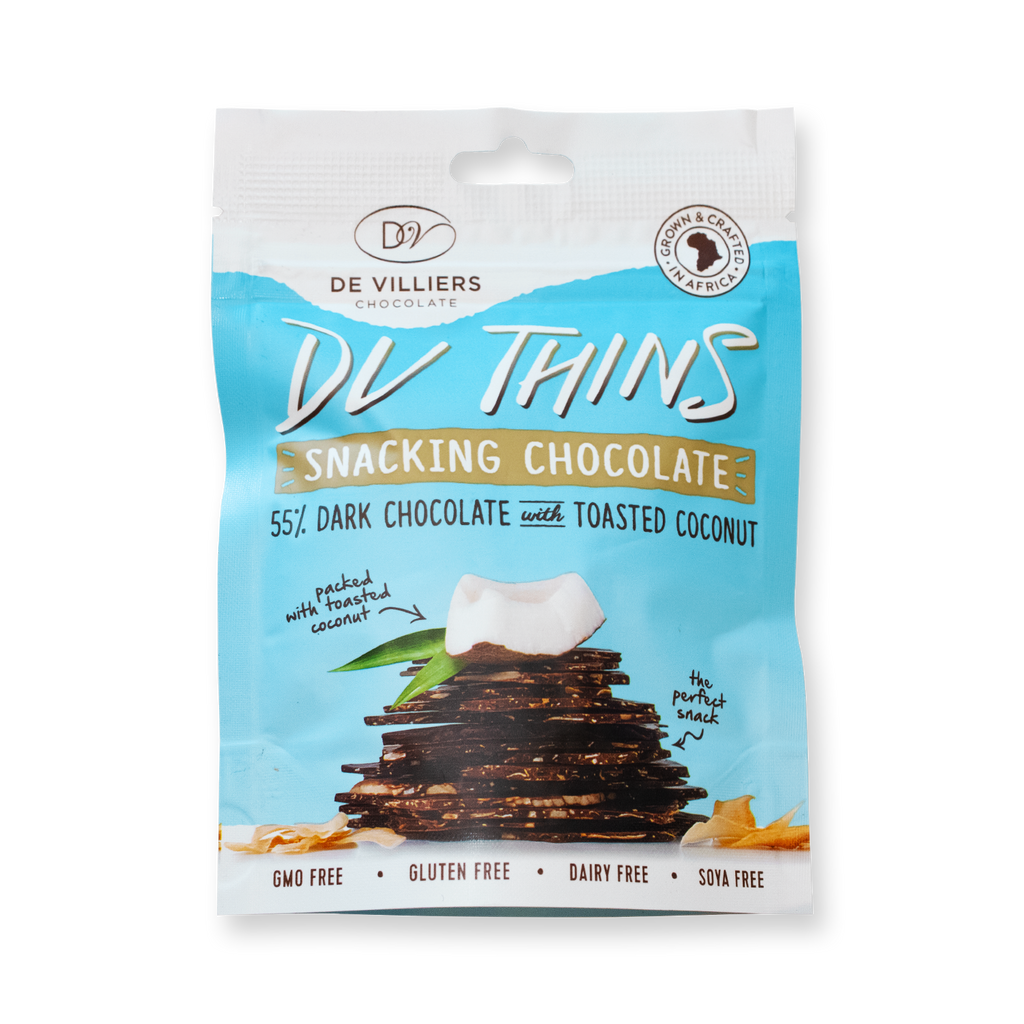 Toasted Coconut Thins - De Villiers Chocolate