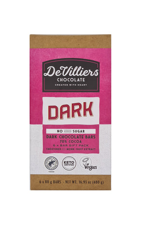 No Added Sugar 70% Cocoa Dark Chocolate Bar - De Villiers Chocolate